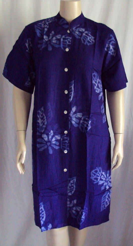 A12 Mandarin Collar lila Duster Cover up Lange Artsy Hand Crafted  B 46 XL 1X