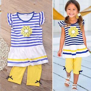 Baby Kids Girls Flower Striped Top T-shirt+Short Pants Cotton 2pcs Outfit Set CA
