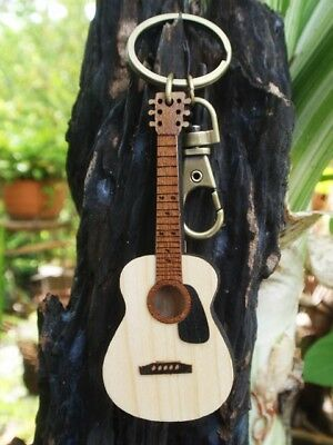 """WOODEN CRAFT LASER CUT MINIATURE GUITAR KEYCHAIN RING ACOUSTIC MUSIC GIFT 6.5/"""" A"""