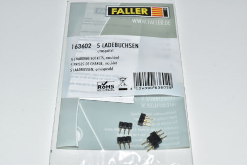 Faller Car System 163602 5 Pezzi Boccole di carico//connettore di ricarica NUOVO IN SCATOLA ORIGINALE