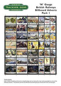 British Railways Billboard Advert Poster Sheets - N Gauge 2mm - Trackside Signs