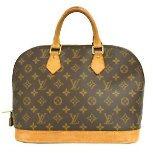 Louis-Vuitton-Alma-M51130-Monogram-Canvas-Satchel-Hand-Bag-Tote-Purse-Brown-LV