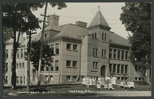 Oxford-NY-c-1908-RPPC-Real-Photo-Postcard-CLASS-IN-FRONT-OF-UNION-FREE-SCHOOL