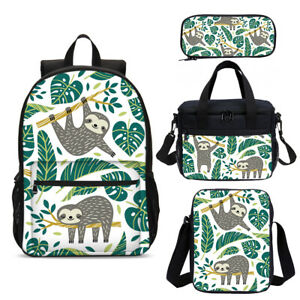 Cute Sloth on Tree School Backpack Insulated Lunch Bag Pen Case Shoulder Bag Lot