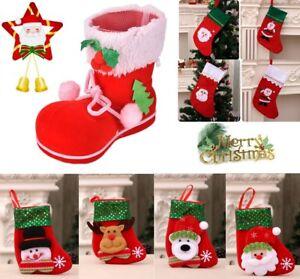 Natale-CALZA-Boot-Calza-Babbo-Natale-Caramelle-Sacchetto-Regalo-Albero-Natale-da-appendere-Decors
