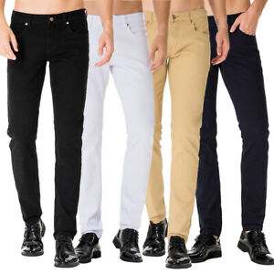 Men-039-s-Solid-Jeans-Slim-Fit-Stretch-Casual-Flat-Front-Chino-Pants