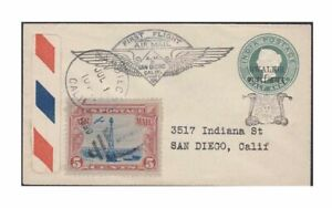 1888-Gwalior-India-Postal-Stationery-on-1930-US-First-Flight-Cover-US-Sc-c11