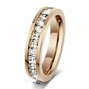 Wedding-Stainless-Silver-Gold-Men-Womens-Ring-Sz3-10-CZ-Steel-Titanium-Band