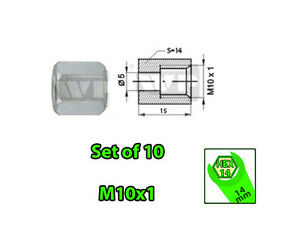 SET-of-10-Female-M10x1-HEX-14-Brake-Line-Pipe-Nuts-Galvanized-for-3-16-Pipes