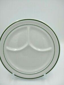 Vintage SHENANGO CHINA Divided Plate Restaurant Ware C-10Green Double Band USA