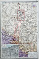 WESTEN FRONT DIXMUDE TO ARRAS WW1 MAP c.1920