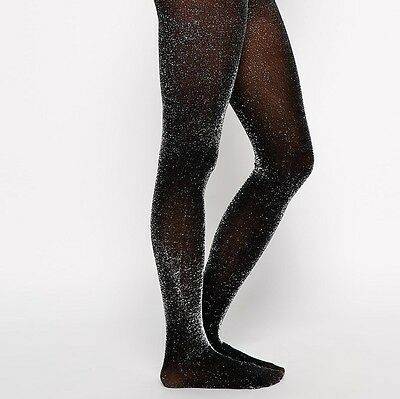 Black Silver Glitter Tights Ladies M 60 denier xmas party sparkle
