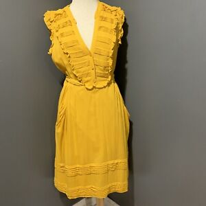 ODILLE-by-Anthropologie-Mustard-Gold-Ruffly-Tiered-Dress-Woman-039-s-14-HTF
