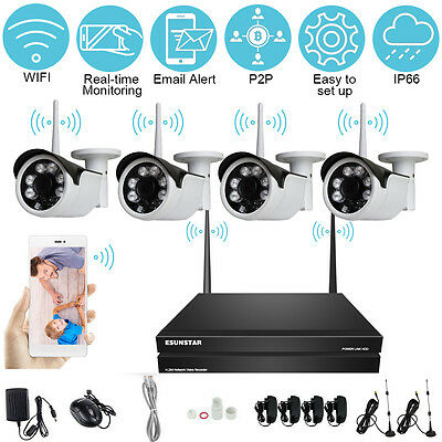 4CH Wireless NVR Kit  4 PCS  IP Camera CCTV System P2P HD 720P 960P 1080P