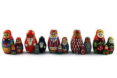 Lot 4 Matryoshka Russian Nesting Doll Babushka Matreshka Babooshka Poupee 3 Pc