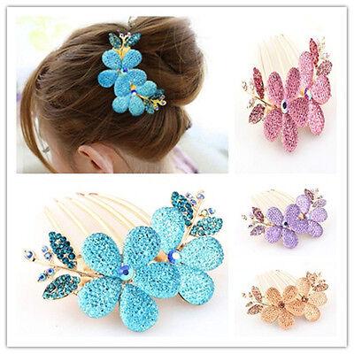 Charm Flower Pattern Alloy CRYSTAL Rhinestone Barrette Hair Clip Comb pink ONE