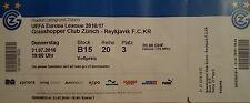 TICKET UEFA EL 2016/17 Grasshopper Club Zürich - Reykjavik KR