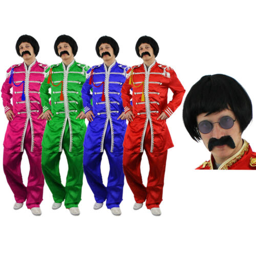 ADULTS SERGEANT PEPPER COSTUME WITH WIG TASH GLASSES 1960S ROCK BAND FANCY DRESS