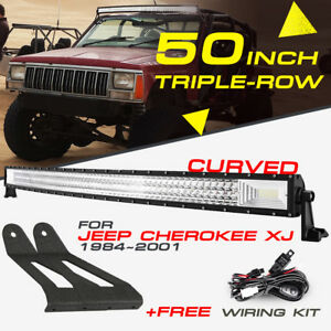 50-034-INCH-2808W-CREE-CURVED-LED-LIGHT-BAR-COMBO-MOUNT-BRACKET-FOR-JEEP-CHEROKEE-XJ