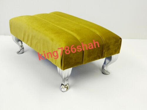 QUEENANNE LEGS BRITISH MADE FOOT REST POUFFE FOOT STOOL  IN PLUSH FEBRIC