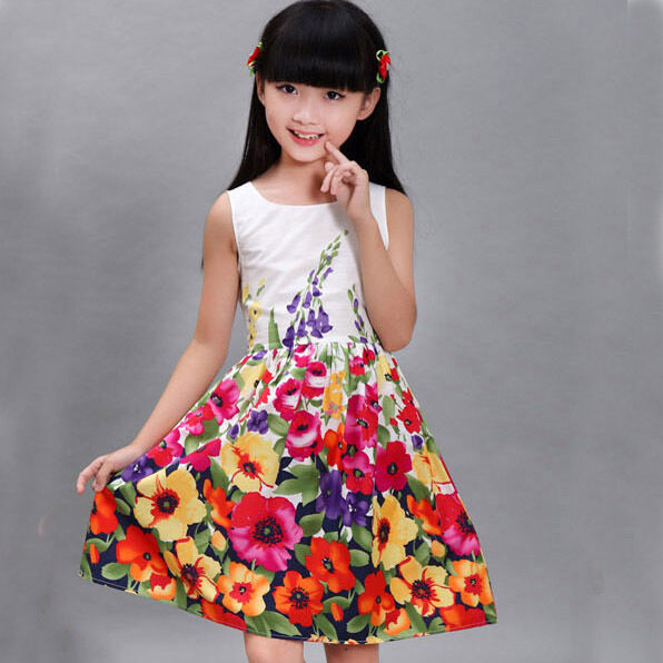 Girls Dress  Floral 100% Cotton Party Birthday Princess Kids Clothing Size 4-12T