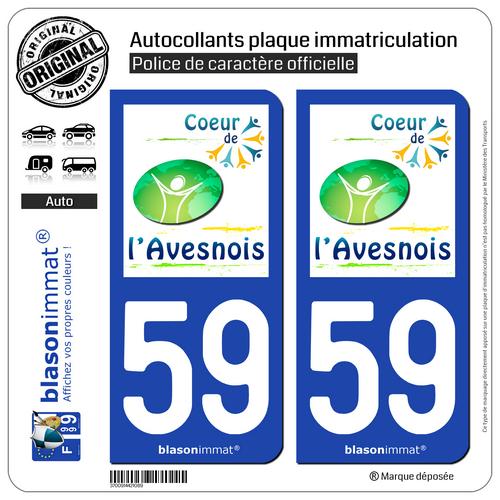 2 Autocollant Plaque D'immatriculation | 59 Avesnes-sur-helpe - Agglo | 59440 Keuze Materialen