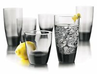 Libbey Classic 16 Piece Cups Glasses Glassware Smoke Set Grey Gift Water Glass