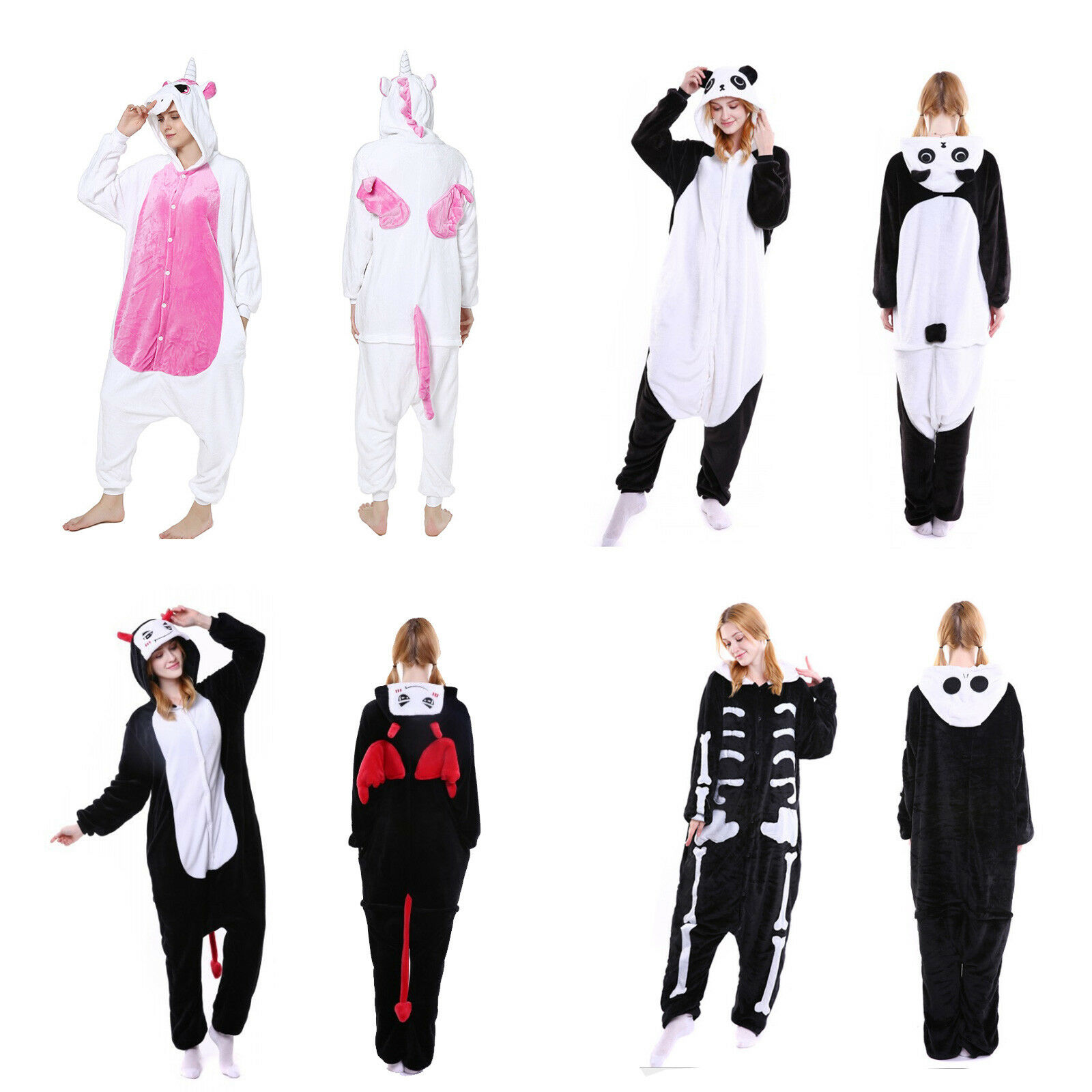 Novelty One-Piece Pajamas Cartoon Panda Animals Onesie Overcoat Family Halloween Cosplay Couple Loose Flannel Hooded Costumes
