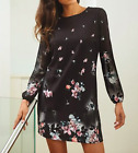 New ex Lipsy Floral Print Long Sleeve Shift Dress in Black RRP £50 Sizes 4-18