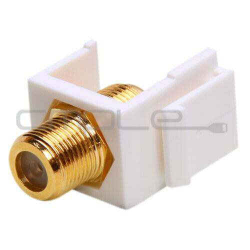 50 QTY Pack F-Type 3GHz Insert Keystone Coax Jack Connector Adapter RG59 RG6 Whi