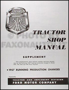 ford tractor shop manual supplement