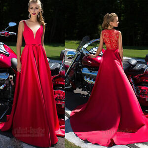 Red-Evening-Dresses-Long-Cocktail-Formal-Party-Bridesmaid-Lace-Prom-Ball-Gown