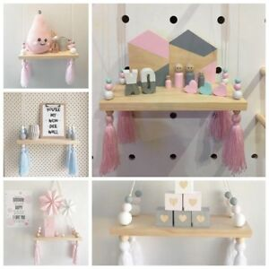 Details about Kids Baby Bedroom Hanging Wood Self Floating Wall Shelves  Storage Shelf 5 Colors