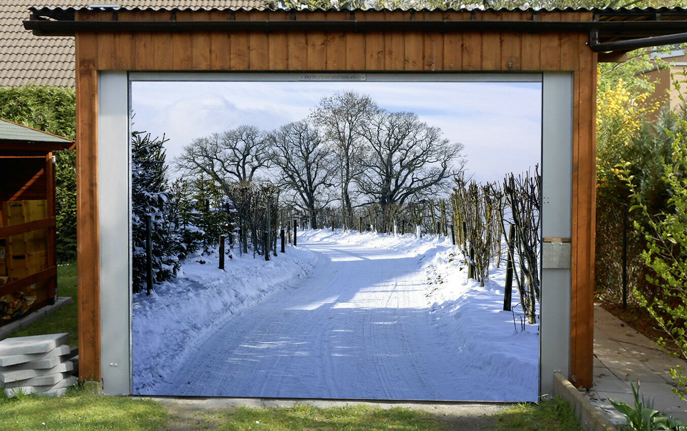 3D Snow Trees Fence 43 Garage Door Murals Wall Print Wall AJ WALLPAPER UK Lemon