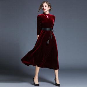 Elegante Maniche Scampanato Vestito Abito Rosso Donna Velluto Slim lKJFT1cu3