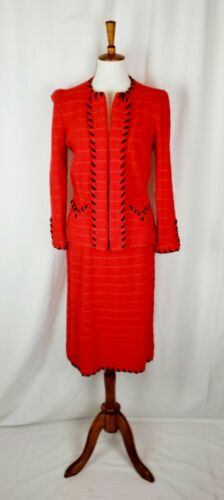 Adolfo For Saks Fifth Avenue Red Knit Wool 2 Pc Sk