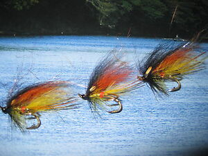 3 V Fly Size 10 Ultimate RV Gold Body Willie Gunn Double Salmon Flies