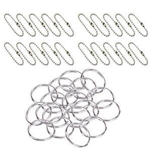 50pcs-Silver-Keyring-Keychain-Split-Ring-20pcs-Short-Ball-Chain-DIY-Craft