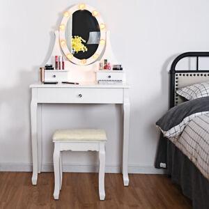 Détails sur Coiffeuse Table de Maquillage avec Tabouret Tiroirs Miroir Ovale et Lumière LED