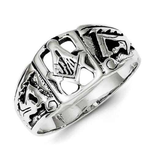Men/'s 925 Sterling Silver Polished /& Antiqued Finish Masonic Ring Size 10