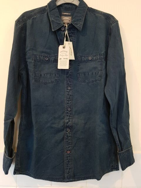 Fat Face LS Scotia Plain Denim Shirt S