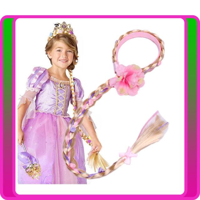 Rapunzel Girls Disney Princess Wig Headband Hair Plait Kids Costume Accessory