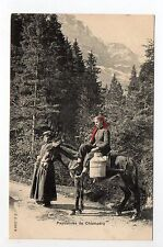 SUISSE SWITZERLAND Canton du VALAIS  CHAMPERY foulards rouges  paysannes foret
