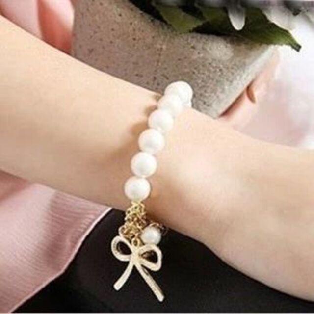 Korean women's jewelry pearl bow stretch bracelet beaded bracelet15