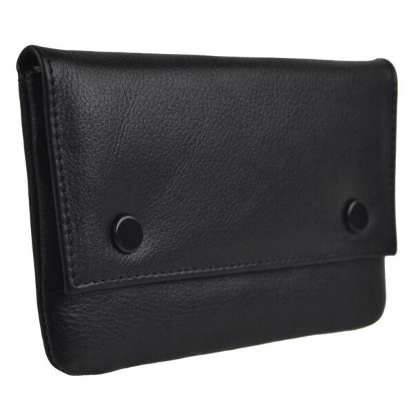Großartige Qualität Kontrast Gefüttert Schwarz Leder Roll Tabaksbeutel Von Hohe Sicherheit
