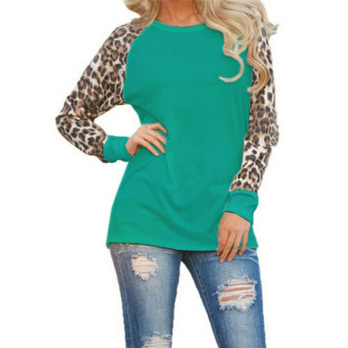 Womens Plus Size Leopard Print Long Sleeve Ladies Casual T-Shirt Top Blouse New
