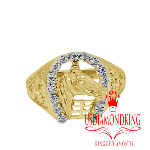 Men/'s 10K Yellow Gold Genuine Natural Diamond Lucky Horse Shoe Ring Band Sz 10