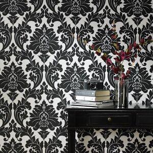 das bild wird geladen vlies tapete barock muster ornament schwarz weiss silber - Tapete Schwarz Weis Muster