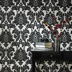 Vlies Tapete Barock Muster Ornament Schwarz Weiß Silber Klassisch