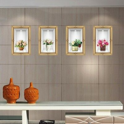 4pcs set 3D frame of potted flowers vase adhesive Wall decal sticker